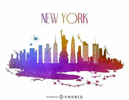 Skyline York Watercolor Vexels Vector Vectors Graphic