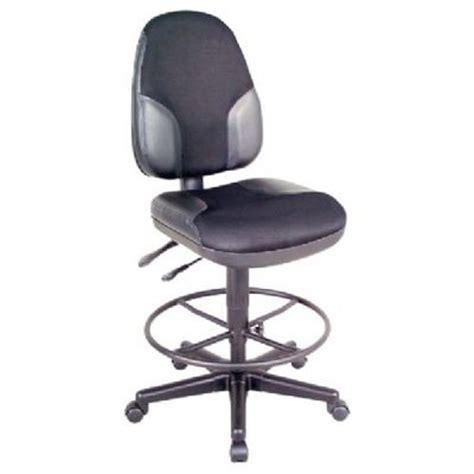 monarch armless leather drafting stool black fabric black