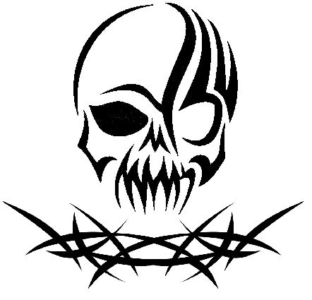 tribal skull  thorns tattoo ideas zeichnungen