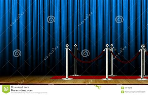 carpet on stage with blue curtain stock photo image