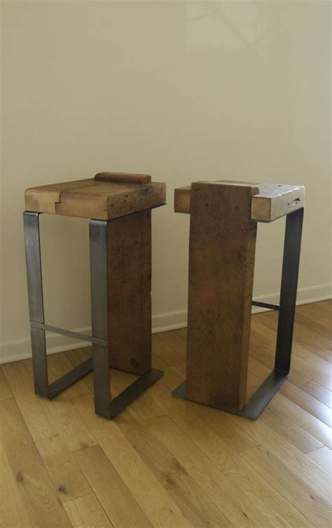 Unique Bar Furniture by Reclaimed Wood And Metal Handmade Bar Stool By Ticinodesign