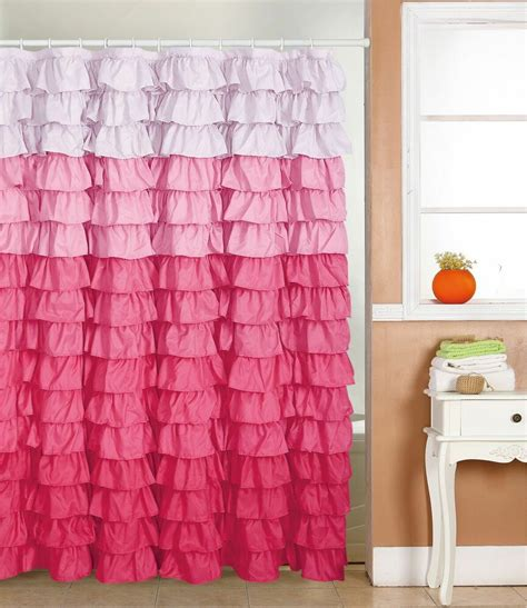 pink ruffle shower curtain waterfall ruffle fabric shower curtain multi color pink