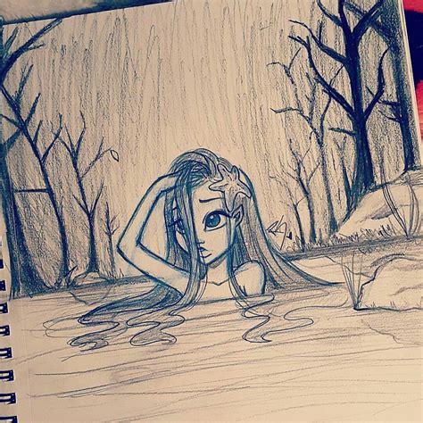 cute sad girl   river drawn  christina lorre
