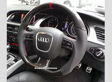 AUDI STEERING WHEEL CARBON FIBER WITH RED RING – Robson