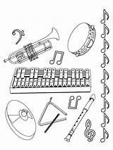 Coloring Clarinet Instruments Musical sketch template