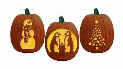 Pumpkin Carving Stencils Themed Patterns Winter Snowmen