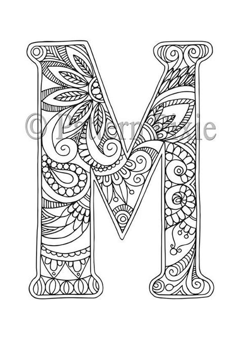 alphabet colouring page  adults colouring page  digital  letter  print