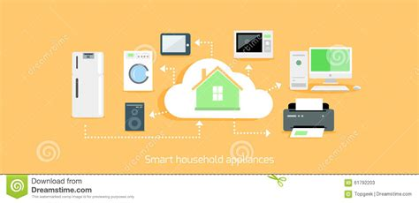 E-home Automation By Design : Smart Household Appliances Icon Flat Design Stock Vector