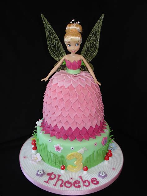 pink tinkerbell doll dress fondant cake  cupcakes