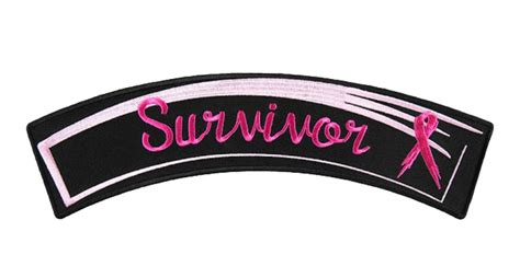Breast Cancer Survivor Pink Ribbon Lady Biker Rocker Patch ...