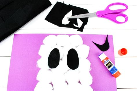 easy cotton ghost craft for preschoolers 554   Cotton Ball Ghost Craft 3