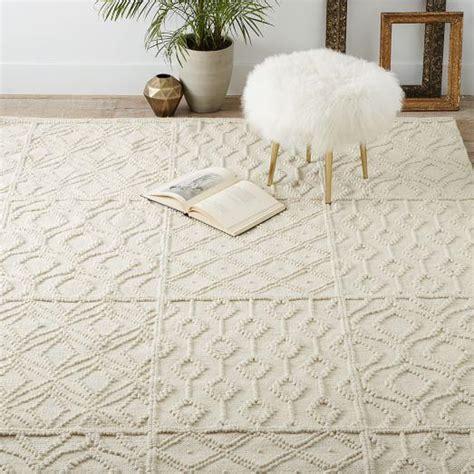 cream variegated knot wool rug
