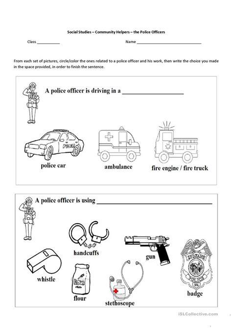 community helpers  police officer worksheet