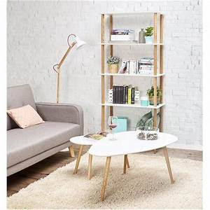Lampe Sur Pied Bois : lampe sur pied design loft en m tal et bois blanc naturel ~ Teatrodelosmanantiales.com Idées de Décoration