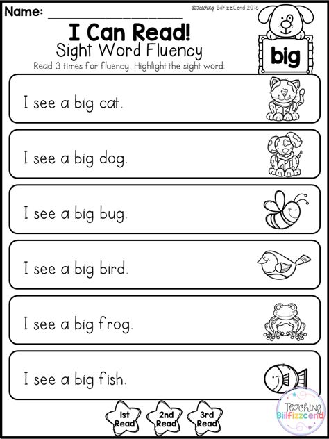 Kindergarten Sight Word Fluency (preprimer) This Pack Is Great For Beginning Readers Or
