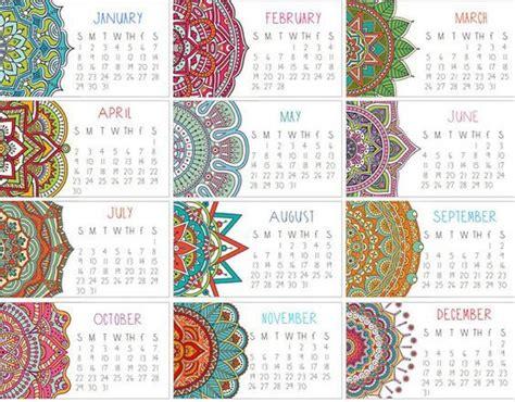 calendario  conjunto de dos mandala mini calendario