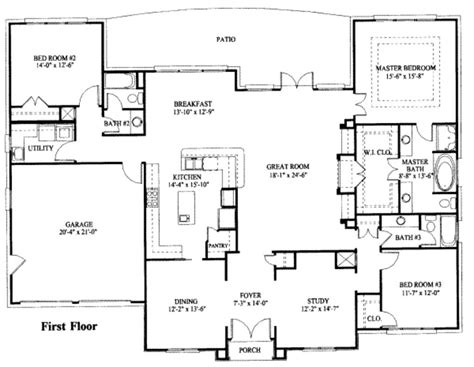 one level house plans house plan simple one house floor plans large