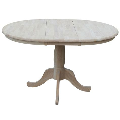 round tables with leaf extensions unfinished 36 inch round extension dining table with 12