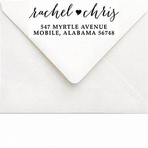 custom self inking address stamp calligraphy address With return address on wedding invitations bride and groom
