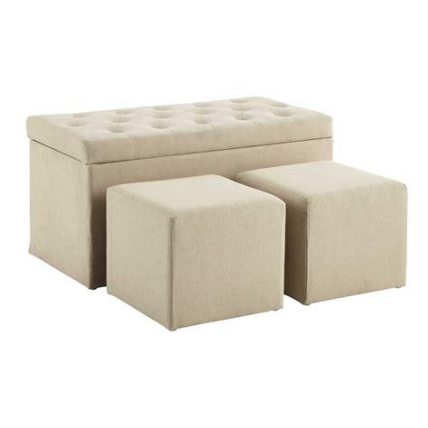 chambre ado vintage coffre banc 2 poufs en coton beige l 79 cm marceau