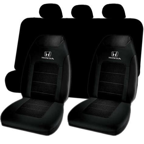 Honda Upholstery by Honda Logo Sport Highback Black Bench Seat Cover 7pc Set