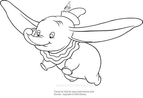 disegni a matita disney dumbo disegno di dumbo che vola con la sua piuma da colorare