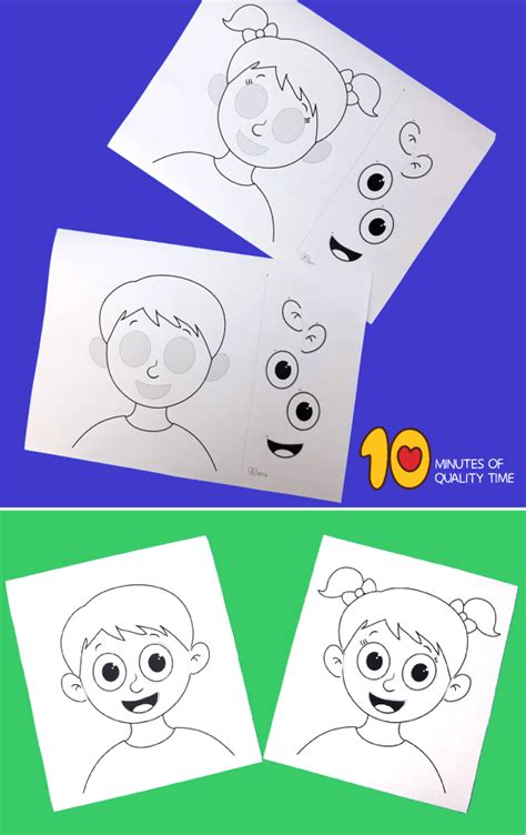 parts   face cut  paste worksheet  minutes