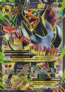 pokemon card mega houndoom ex full art xy breakthrough mint new p