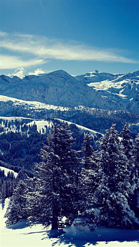 wallpaper winter mountains forest hd nature