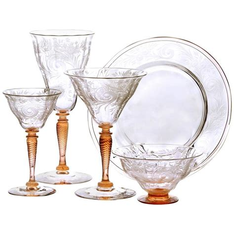Steuben Barware by Steuben One Of A Engraved Stemware Service For Sale
