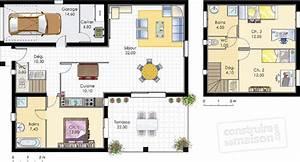 Plan Maison A Etage : plan maison etage 90m2 garage ventana blog ~ Melissatoandfro.com Idées de Décoration