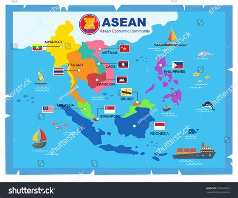 asean economic community aec map aec asean economic community world mapvector stock vector asea