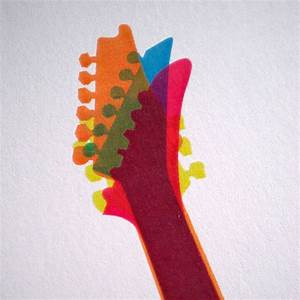 overlapping guitar art print by knockout ...