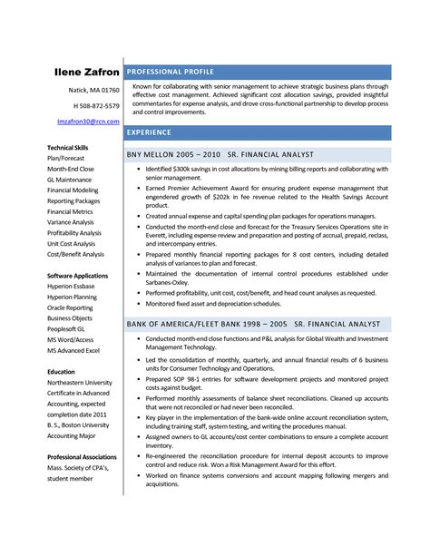 free consumer financial services analyst resume exle