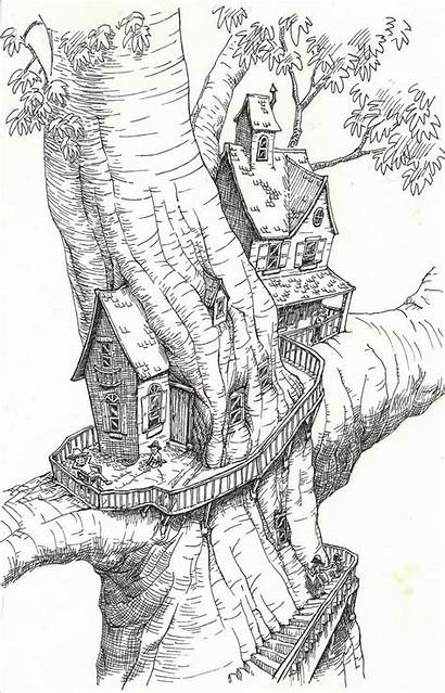 Coloring Tree Treehouse Fantasy Drawings Drawing Sketchbook