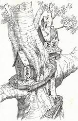Coloring Tree Pages Treehouse Colouring Drawings Drawing Adults Magic Treehouses Project Sketchbook Houses Adult Printable Print Sketch Fairy Sheets Fantasy sketch template