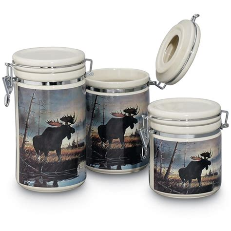kitchen canisters canada set of 3 wildlife canisters 28428 gift baskets at