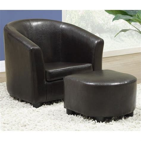 monarch toddler ottoman set brown faux leather club