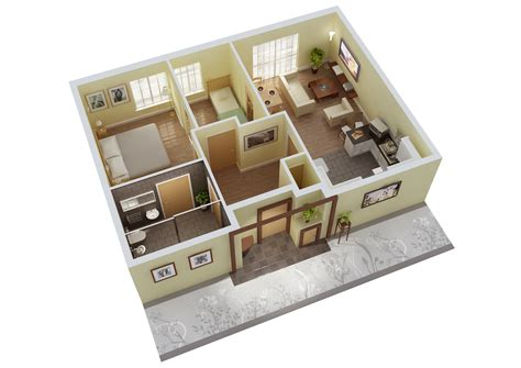 House Plan 25 More 3 Bedroom 3d Floor Plans Simple Free