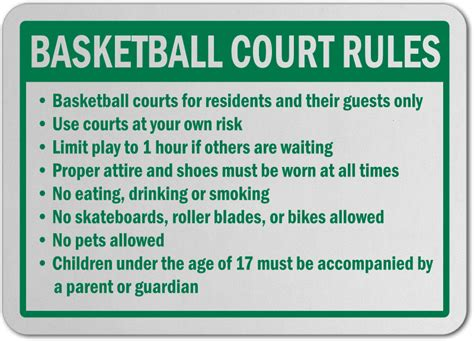 basketball court rules sign   safetysigncom