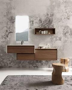 meuble de salle de bain en bois avec vasque integree With salle de bain design avec meuble de salle de bain vasque intégrée