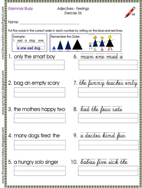 sample worksheet   order   noun family study