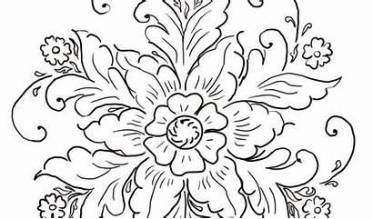 Rosemaling Coloring Templates Norwegian Pattern Ornament Template