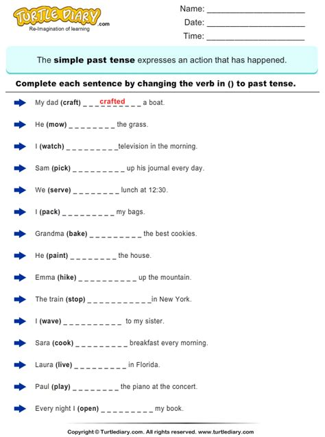 change the verbs to past tense form worksheet 1 turtle diary