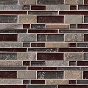 Urbano, Blend, Interlocking, Mesh, Mounted, Glass, U0026, Stone, Blend, Mosaic, Tiles, For, Wall