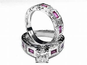 Pink sapphire engagement rings from mdc diamonds nyc for Wedding ring sets with sapphire accents