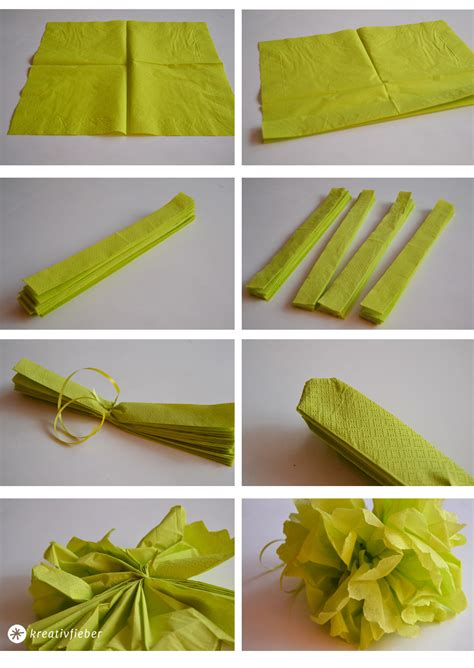 pompons selber machen servietten diy pompoms selbermachen
