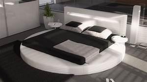Lit Rond But : lit rond design 160x200 en simili blanc avec clairage uster gdegdesign ~ Teatrodelosmanantiales.com Idées de Décoration
