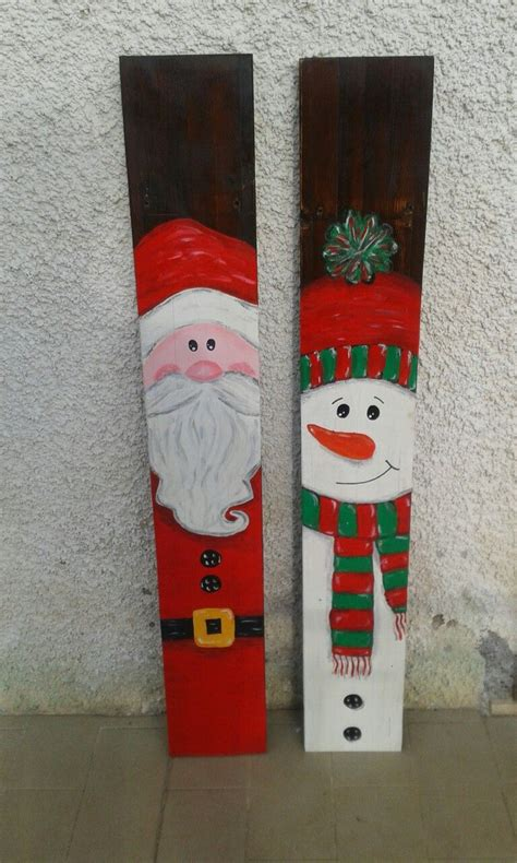 pallet christmas diy snowman  santa claus hand painted