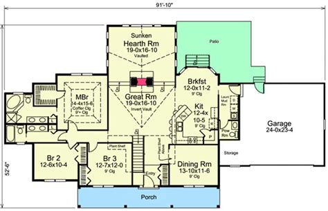 Floor Plans With Hearth Room by Sunken Hearth Room 57288ha Architectural Designs